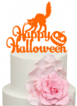 Happy Halloween Cat and Pumpkin Acrylic Cake Topper